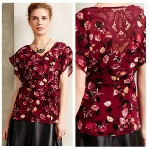 Anthropologie Meadow Rue Burgundy Floral Blouse